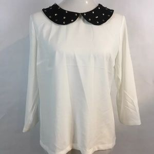 NWT Forever 21 Chiffon Blouse L/S Studded Collar